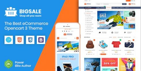 BigSale – The Multipurpose Responsive SuperMarket Opencart 3 Theme With 3 Mobile Layouts – 23091519