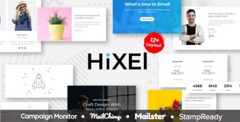 Hixel – Responsive Email Template for Agency 70+ Modules – StampReady Builder + Mailster & Mailchimp – 21654935
