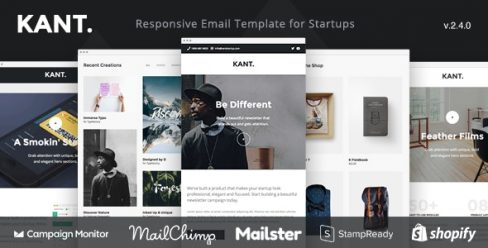 Kant – Responsive Email for Startups: 50+ Sections + Online Builder + MailChimp + Mailster + Shopify – 19326277