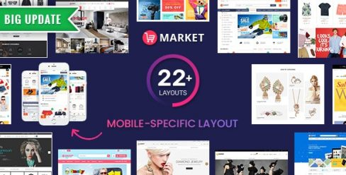 Market – Premium Responsive Magento 2 and 1.9 Store Theme with Mobile-Specific Layout (22 HomePages) – 8945695