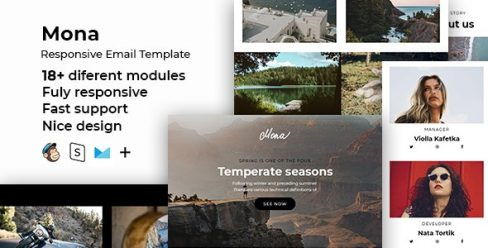 Mona – Responsive HTML Email + StampReady, MailChimp & CampaignMonitor Compatible Files – 24537777