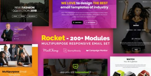 Rocket – Multipurpose Email Set with 200+ Modules + MailChimp Editor + StampReady + Online Builder – 23182697