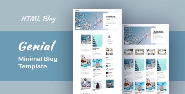 Genial – Minimal Blog HTML Template – 29831253 Free Download
