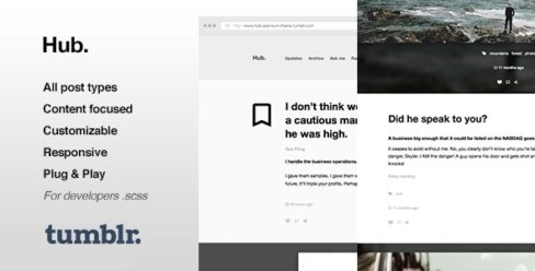 Hub | One Column, Blogging Tumblr Theme – 10891864