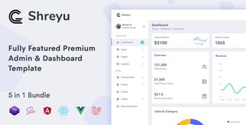 Shreyu – Admin & Dashboard, Angular, React, Vue and Laravel – 24920493