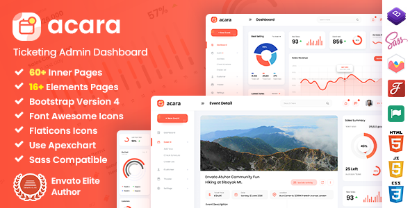 Acara – Ticketing Admin Dashboard Bootstrap HTML Template – 29915728 Free Download