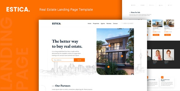 Estica – Real Estate Landing Page Template – 24895203 Free Download