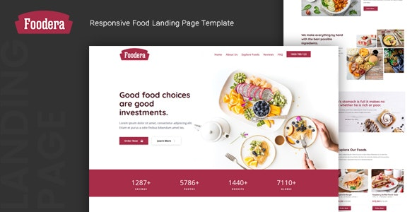 Foodera – Responsive Food Landing Page Template – 24565320 Free Download