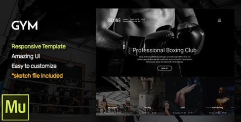 GYM – Responsive Fitness and Gym Muse CC Template + Gallery Widget – 18501336