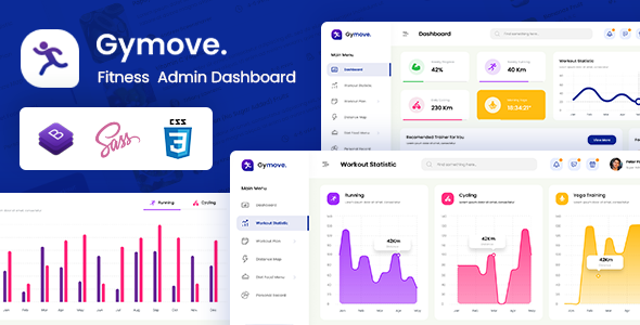 Gymove – Fitness Admin Dashboard Bootstrap HTML Template – 29823895 Free Download