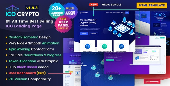 ICO Crypto – Bitcoin & Cryptocurrency ICO Landing Page HTML Template + User Dashboard – 21405614 Free Download