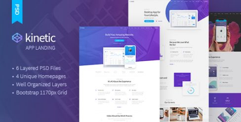 Kinetic – App Landing One Page PSD Template – 23044608