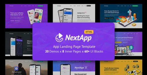 NextApp – App Landing Pages Pack – 23312644