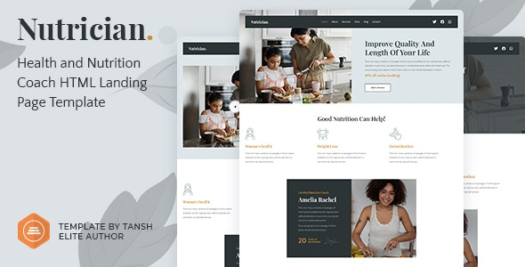 Nutrician – Health and Nutrition Coach Feminine HTML Landing Page Template – 31821438 Free Download