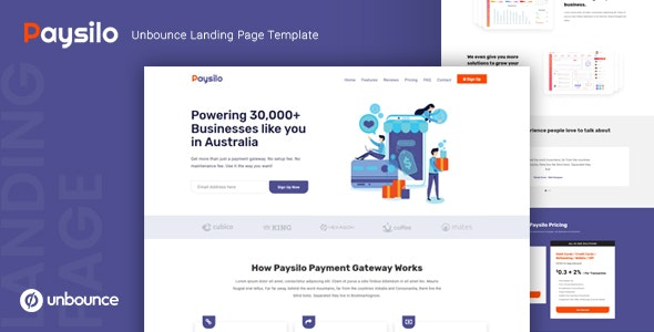 Paysilo – Responsive Unbounce Landing Page Template – 23661671 Free Download