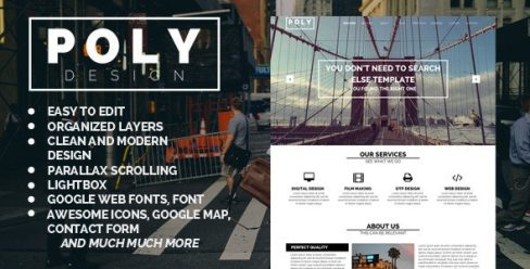 Poly – One Page Muse Template – 8570448