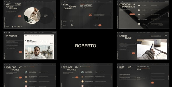 Roberto. – Onepage Horizontal Personal CV/Resume HTML Template – 31793749 Free Download