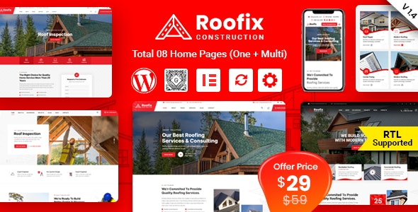 Roofix – Roofing Services WordPress Theme – 27855848 Free Download
