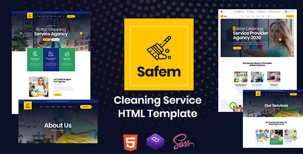Safem – HTML Template for Cleaning Service – 26445410 Free Download