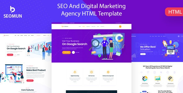 Seomun – Digital Marketing Agency HTML5 Template – 23910492 Free Download