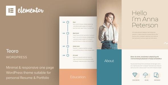 Teoro – CV Resume WordPress Theme – 28188707 Free Download