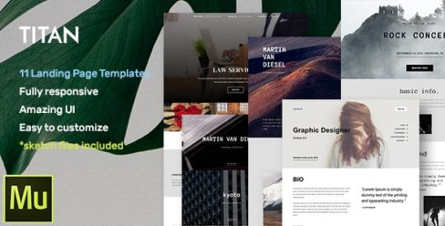 Titan – Responsive Muse Templates for Landing Page + Gallery Widgets – 17369618