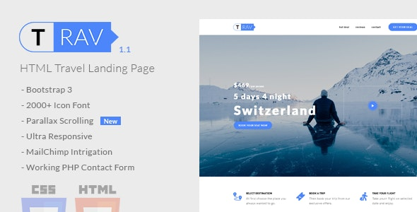 Trav | Travel HTML Landing Page – 20774925 Free Download